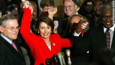 Nancy Pelosi is seen in November 2002 on Capitol Hill in Washington, DC, after Democrats chose her as their leader in the House of Representatives, making her the first woman to lead a party in the US Congress. At the time Democrats were in the minority.