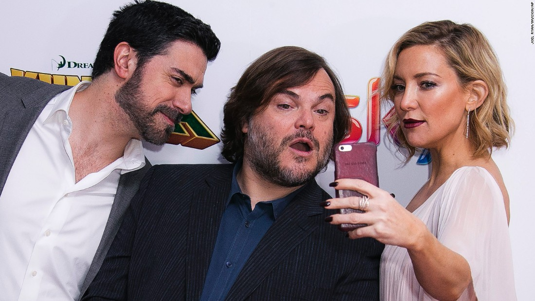 "Actress Kate Hudson takes a selfie with director Alessandro Carloni, left, and actor Jack Black as they attend the London premiere of ""Kung Fu Panda 3"" on Sunday, March 6."