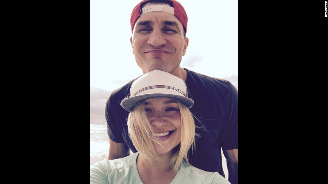 "Actress Hayden Panettiere <a href=""https://twitter.com/haydenpanettier/status/706242450596167680"" target=""_blank"">tweeted this selfie</a> with her husband, boxer Wladimir Klitschko, on Friday, March 5."