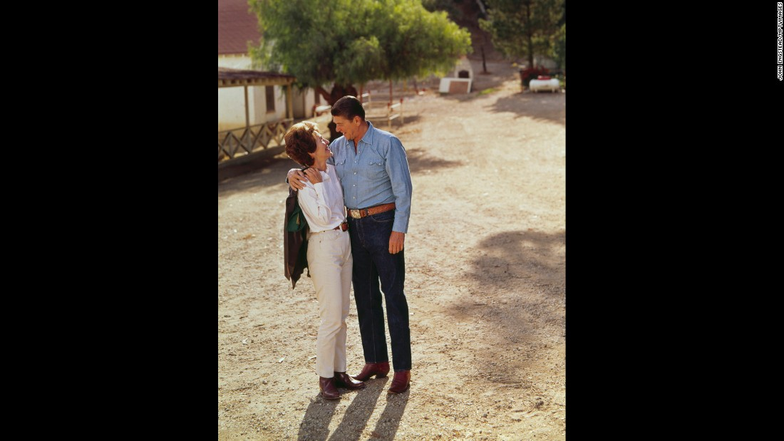 "Ronald and Nancy spend time together at their ranch in Santa Ynez in 1974. Her official White House biography quotes her as saying, ""My life really began when I married my husband."""