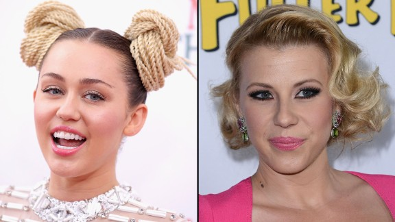 "Fans were upset when Miley Cyrus posted some unflattering photos of ""Full House"" star Jodie Sweetin from her partying days. Sweetin took the high road, saying, ""I don"