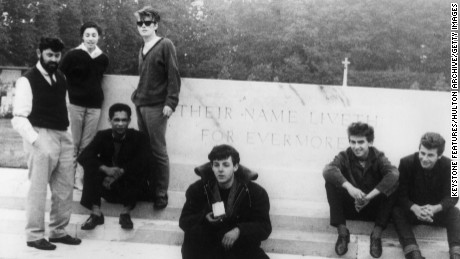 L-R: Manager Allan Williams, his wife Beryl, Williams' business partner singer Lord Woodbine, Stuart Sutcliffe, Paul McCartney, George Harrison and Pete Best.