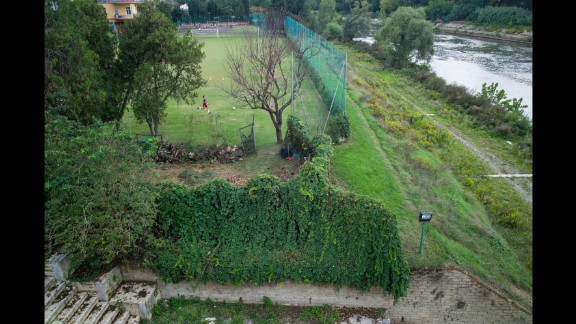 A field across the Tiber River from the Olympic Stadium, Rome