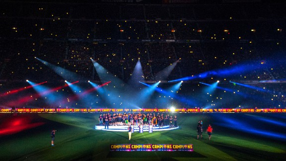 The stadium has witnessed many a celebratory occasion, none more so than last season when the club won the treble, clinching the Spanish league title, the Spanish Cup and the European Champions League. This season Barca is eight points clear in La Liga already.