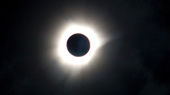 The eclipse as seen in Luwuk, Central Sulawesi in Indonesia.
