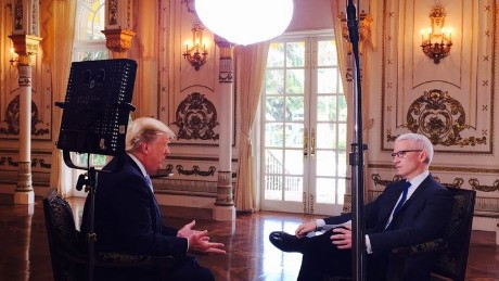 Anderson Cooper interviews Donald Trump on Wednesday, March 9, 2016.