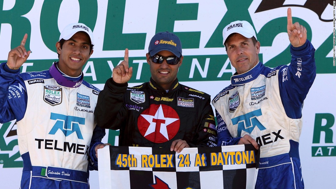 Duran (left) has been on the top step of the podium himself, winning the famous 24 Hours of Daytona endurance race in Florida in 2007 alongside Juan Pablo Montoya (center) and Scott Pruett (right).