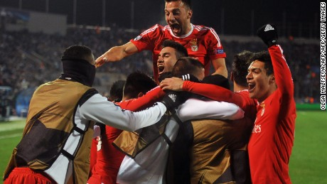 Benfica celebrates after winning in Russia