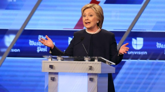 Hillary Clinton speaks during the Univision News and Washington Post Democratic Presidential Primary Debate at the Miami Dade College