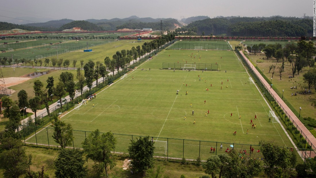 The 167-acre site has 50 pitches and is home to 2,600 boys and 200 girls who, it is hoped, will star for China in the future.