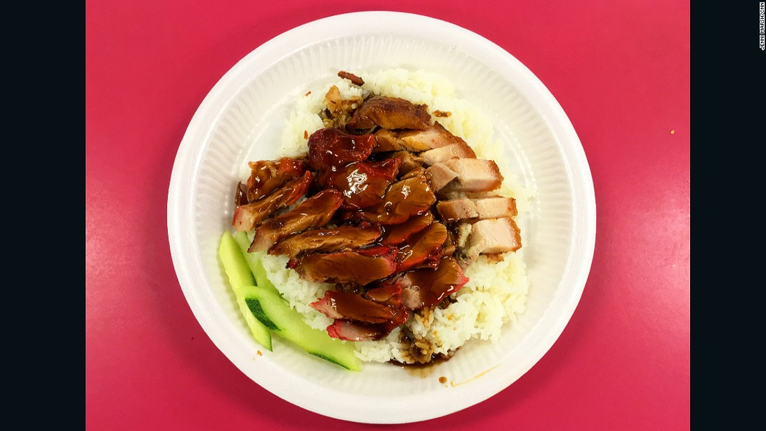 Crispy char siu (barbecued pork) and rice is served at Singapore Airport Terminal 1 for $2.
