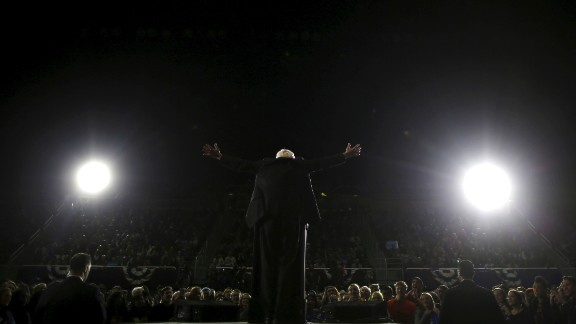 Sanders speaks at a campaign rally in Ann Arbor, Michigan, in March 2016. He won the state's primary the next day, an upset that delivered a sharp blow to Clinton's hopes of quickly securing the nomination.