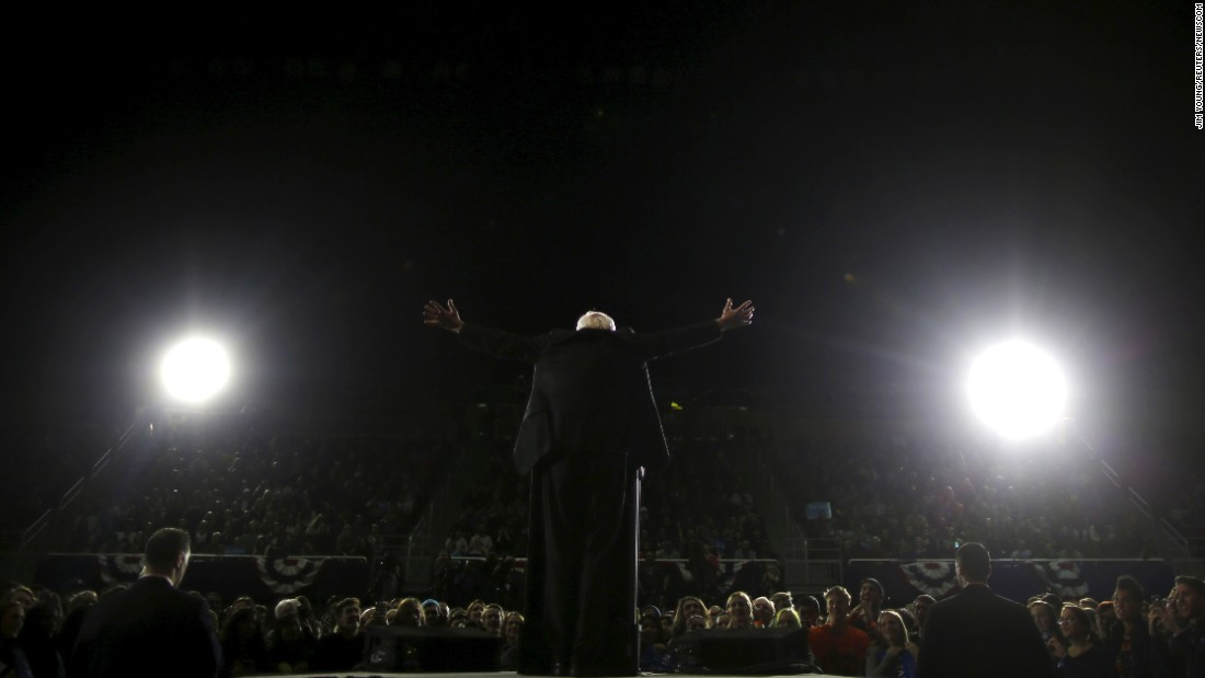 "Sanders speaks at a campaign rally in Ann Arbor, Michigan, on March 7. Sanders <a href=""http://www.cnn.com/2016/03/08/politics/primary-results-highlights/"" target=""_blank"">won the state's primary</a> the next day, an upset that delivered a sharp blow to Clinton's hopes of quickly securing the nomination."