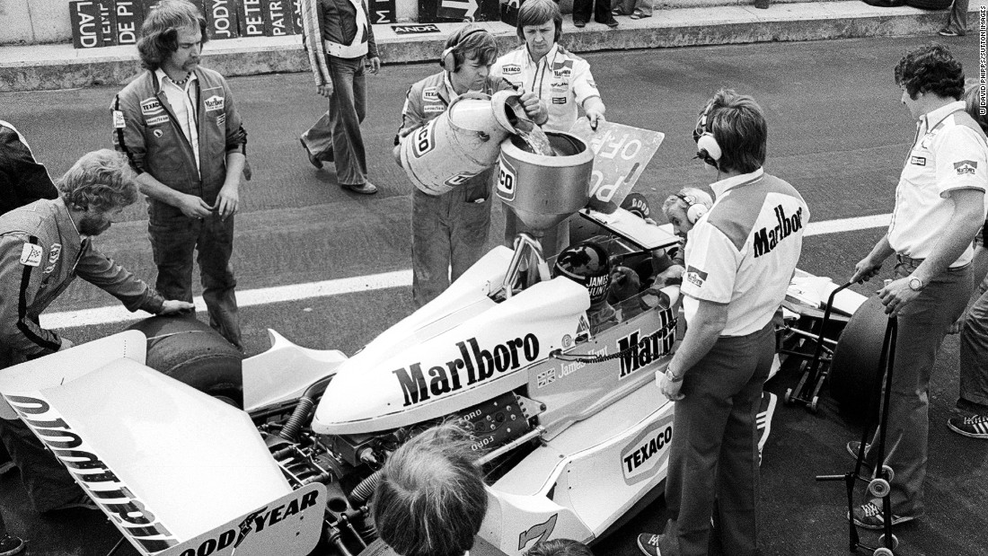 Fuel is added to Hunt's McLaren M26 in the pits during practice at the 1978 Belgian Grand Prix in Zolder.