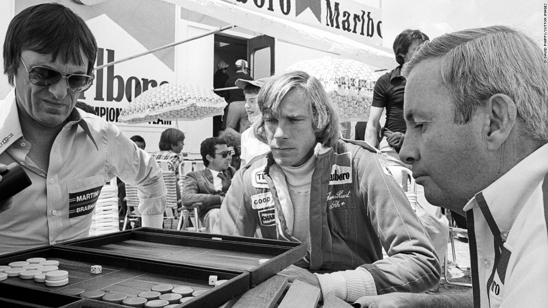 Then Brabham team owner Bernie Ecclestone (left) plays backgammon in the paddock with Hunt at the 1977 Spanish Grand Prix in Jarama. Ecclestone is now the longtime CEO of Formula One.