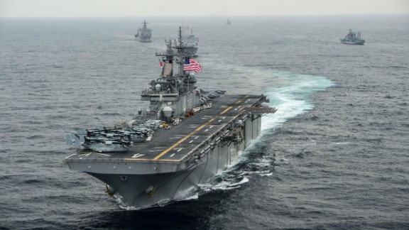 AT SEA - MARCH 8: In this handout photo provided by the U.S. Navy, the amphibious assault ship USS Boxer (LHD 4) transits the East Sea on March 8, 2016 during Exercise Ssang Yong 2016. Ssang Yong 16 is a biennial combined amphibious exercise conducted by forward-deployed U.S. forces with the Republic of Korea Navy and Marine Corps, Australian Army and Royal New Zealand Army Forces. (Photo by MCSN Craig Z. Rodarte/U.S. Navy via Getty Images)