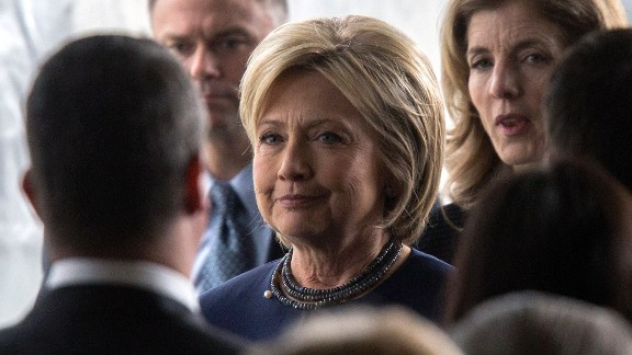 SIMI VALLEY, CA - MARCH 11:  Democratic presidential candidate Hillary Clinton follows the casket during funeral and burial services for former first lady Nancy Reagan at the Ronald Reagan Presidential Library on March 11, 2016 in Simi Valley, California. The first lady is being buried at the library next to her husband, who died on June 5, 2004. Nancy Reagan died of heart failure at the age of 94. (Photo by David McNew/Getty Images)