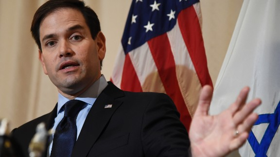 US Republican presidential candidate Marco Rubio addresses the media during a press conference about Israel Temple Beth El on March 11, 2016 in West Palm Beach, Florida.