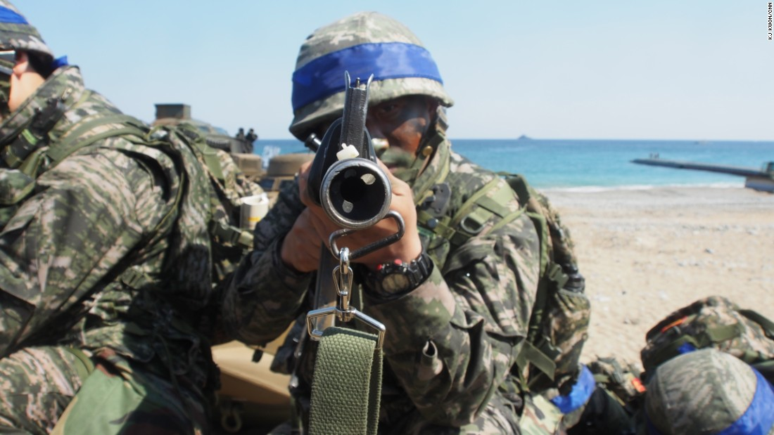 A South Korea marine holds an assault rifle in the March 12 exercises.