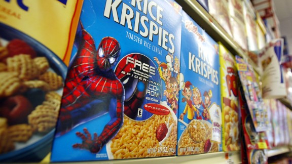 """Rice Krispies boxes with a """"Spider-Man"""" promotion sit on a shelf May 2002 in New York City."""
