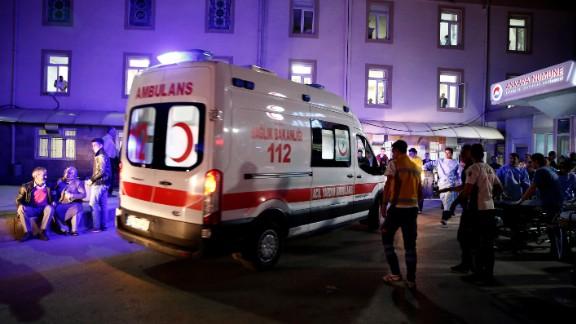 An ambulance arrives near the scene.
