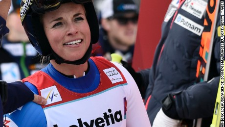 Lara Gut is all smiles after wrapping up the overall World Cup title with a third place in an alpine combined event in her native Switzerland.