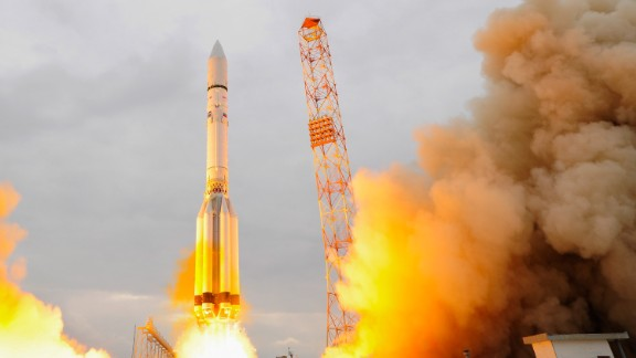 The ExoMars 2016 lifts off on a Proton-M rocket in Baikonur, Kazakhstan. One of the scientific objectives of the collaborative project between the European Space Agency (ESA) and the Russian Federal Space Agency is to search for signs of past and present life on Mars.  (Photo by Stephane Corvaja/ESA via Getty Images)