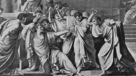 The assassination of Julius Caesar (100 - 44 BC) at the Senate in Rome, 15th March 44 BC. (Photo by Archive Photos/Getty Images)