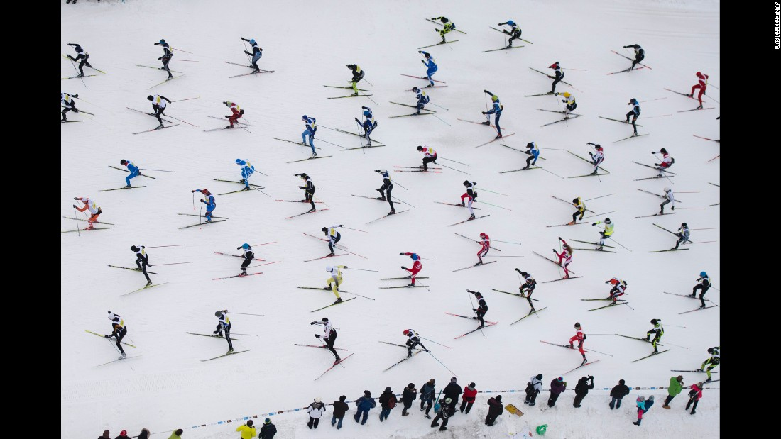 Thousands of men and women are on their way from Maloja to S-Chand in Switzerland as they participate in the annual Engadin Ski Marathon on Sunday, March 13.
