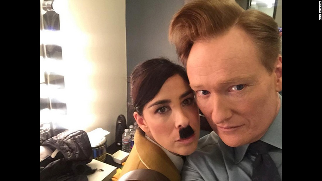 "Talk-show host Conan O'Brien <a href=""https://www.instagram.com/p/BCyuNLyjQVP/?hl=en"" target=""_blank"">takes a backstage selfie</a> with comedian Sarah Silverman ""before she gets into costume"" on Thursday, March 10. Silverman played Adolf Hitler in a mock interview."
