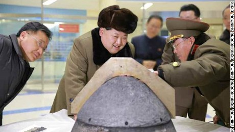 North Korean leader Kim Jung-un reviewing ballistic rocket simulation.  Pyongyang, March 15 (KCNA) -- Scientists and technicians in the defence industry of the DPRK succeeded in the development and local production of heat-resisting materials for rocket with their own efforts and technology after having made diligent researches of years under the direct guidance of supreme leader Kim Jong Un.