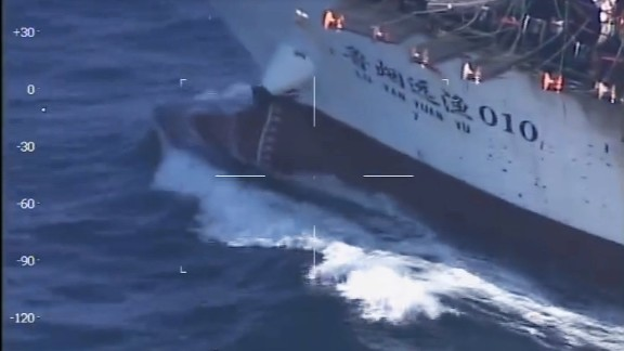 Handout screen grab from a video posted in Prefectura Naval's website on March 15, 2016 showing the prow of Chinese  fishing boat Lu Yan Yuan Yu 010, sank by their coast guard vessel GC-28 Prefecto Derbes while she was illegally fishing in Argentine territorial waters off Puerto Madryn,  1,300 kilometers (800 miles) south of Buenos Aires. The boat's crew were all rescued alive, police said in a statement.