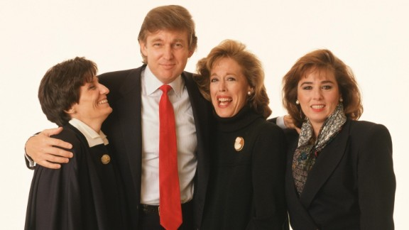 """Barbara Res, far right, with Donald Trump, for the November 1989 cover of """"Savvy Woman"""" Magazine."""