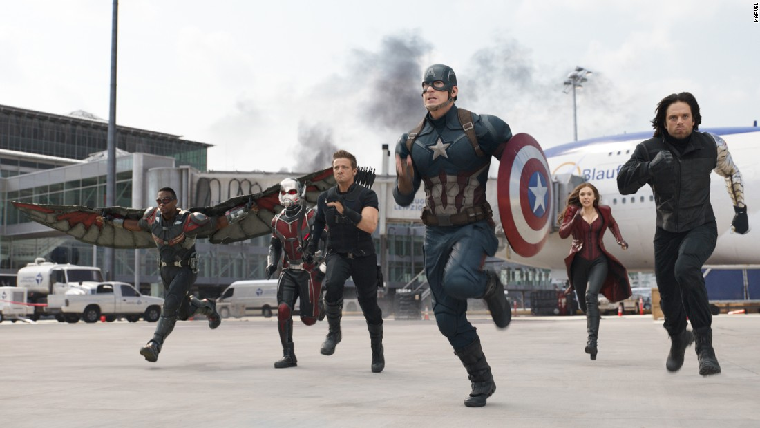 """Captain America: Civil War""<a href=""http://money.cnn.com/2016/03/10/media/captain-america-trailer-spider-man/""> lit up the Internet with its trailer</a> and is expected to fill theaters when the entire 147-minute opus slams into theaters. Chris Evans is Cap and Robert Downey Jr. is Iron Man, and when the two meet, it's a lot of broken asphalt. The film opens May 6."