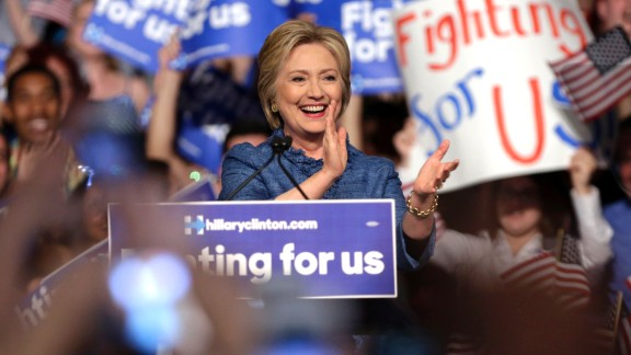 Democratic presidential candidate Hillary Clinton speaks during an election night event at the Palm Beach County Convention Center in West Palm Beach, Fla., Tuesday, March 15, 2016. (AP Photo/Lynne Sladky)