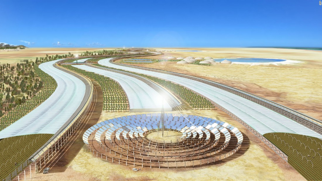 "This concept design for a solar-powered smart farm in the Tunisian desert is an initiative of the <a href=""https://www.saharaforestproject.com/"" target=""_blank"">Sahara Forest Project</a>. The Norwegian social enterprise uses technologies that convert abundant resources into scarce ones. For example, it uses seawater to cool greenhouses and allow year-round crop cultivation."