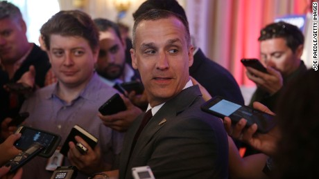 Corey Lewandowski  speaks with the media before former presidential candidate Ben Carson gives his endorsement to Trump at the Mar-A-Lago Club on March 11, 2016 in Palm Beach, Florida.