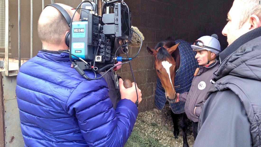 Interviewing leading jockey, Andrea Atzeni at Varian's yard in Newmarket.