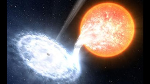 In March 2016, astronomers published a paper on powerful red flashes coming from binary system V404 Cygni in 2015.  This illustration shows a black hole, similar to the one in V404 Cygni, devouring material from an orbiting star.