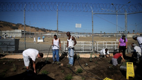 Inmates at a state prison in Vacaville, California, install a drought-tolerant garden in October. The garden will be watered using reclaimed water from the prison's kitchen. California is entering its fifth year of severe drought.