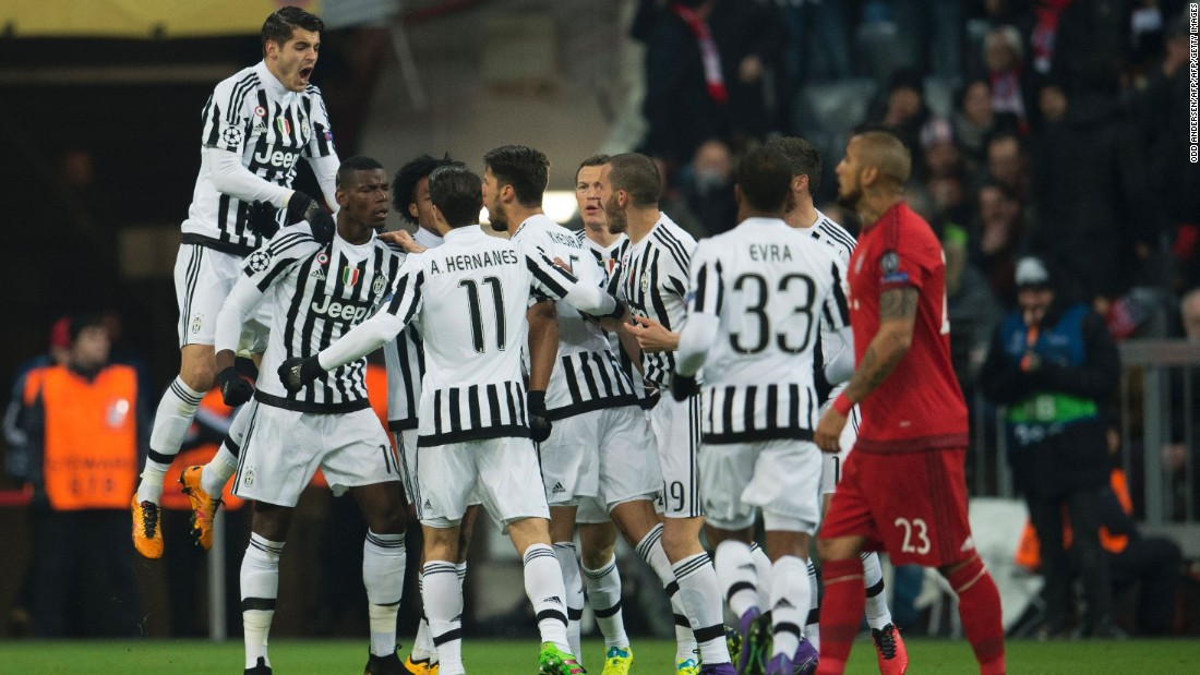 Juventus celebrate Paul Pogba's early goal. Having trailed 2-0 at one point in the first leg, the Italians were leading 4-2 midway through the second half of the second leg.