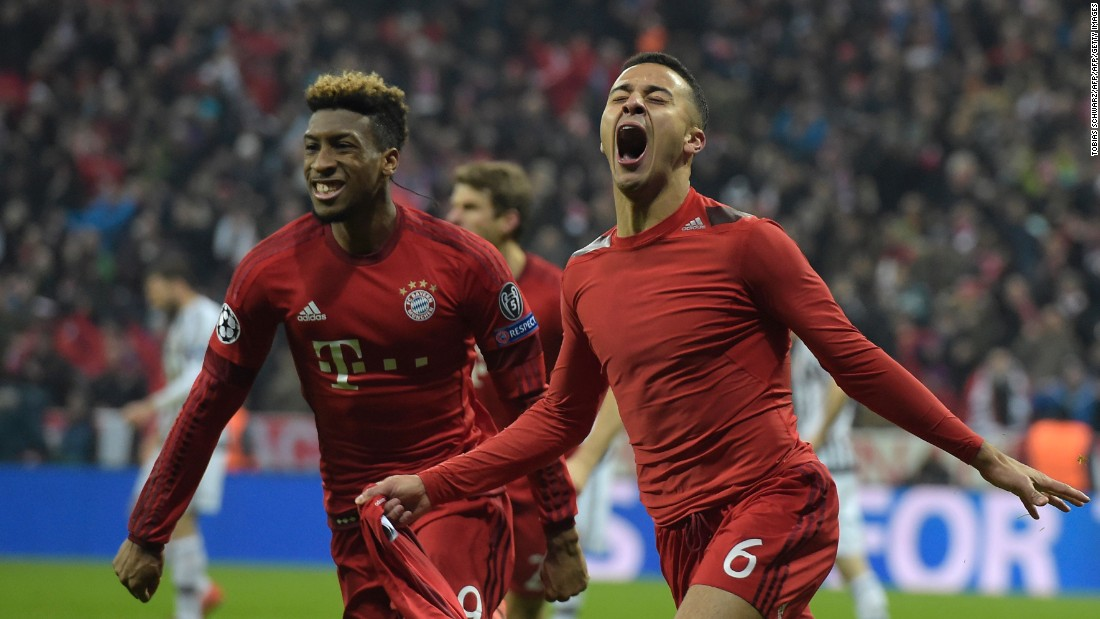Kingsley Coman and Thiago celebrate after the latter gives Bayern the lead in extra-time -- the first time they had been ahead all night.