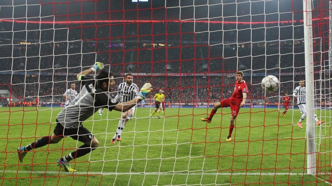 Thomas Muller netted the all-important equalizer in injury time at the end of regulation time in the second leg, thumping a head past veteran goalkeeper Gianluigi Buffon to make it 4-4 on aggregate.