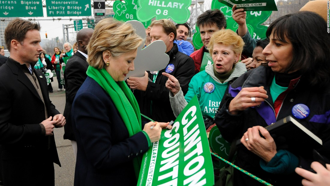 Presidential hopeful and then-New York Sen. Hillary Clinton greets supporters during a St. Patrick's Day Parade on March 15, 2008 in Pittsburgh.