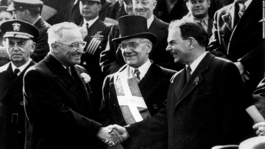 Late President Harry S. Truman (1884-1972), left, and former Gov. Thomas E. Dewey (1902-1971) meet at New York's St. Patrick's Day Parade on March 17, 1948.  Both were presidential candidates that year.