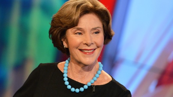 """Former First Lady of the United States Laura Bush visits FOX's """"America's Newsroom"""" at FOX Studios on September 24, 2014 in New York City."""