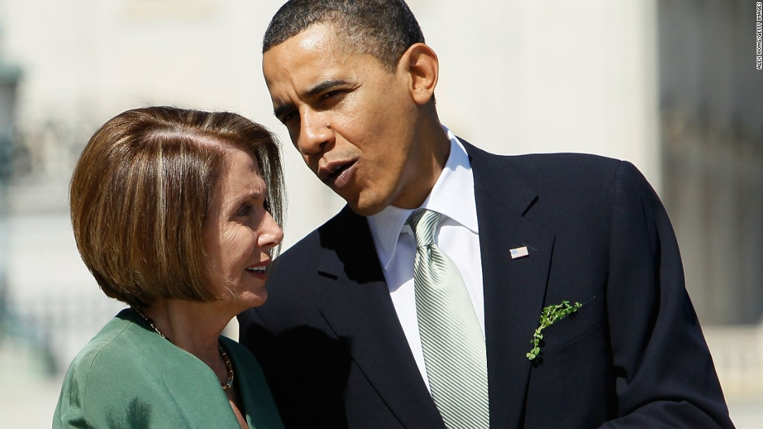 Obama talks to then-Speaker of the House Nancy Pelosi after the annual St. Patrick's Day Capitol Hill luncheon on March 17, 2010 on Capitol Hill.