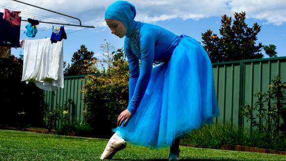 Stephanie Kurlow, a 14-year-old Sydney schoolgirl, practices ballet in her family's backyard on January 31.