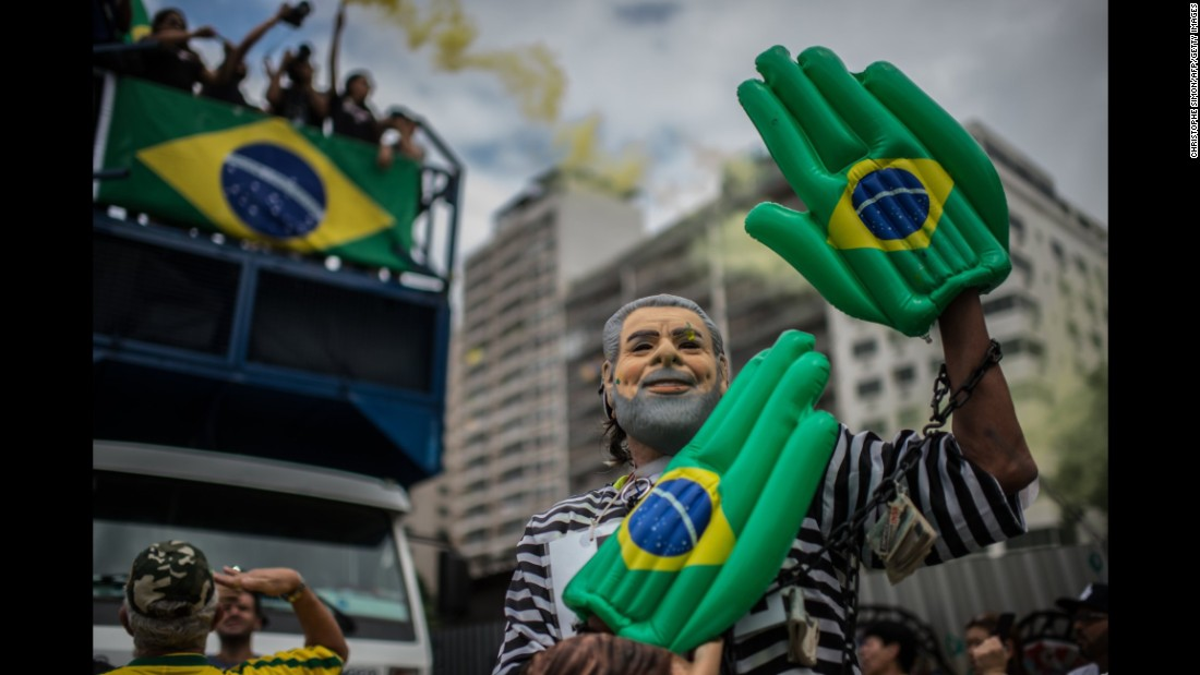 A demonstrator is dressed as Lula Da Silva during a protest in Rio de Janeiro on Sunday, March 13.