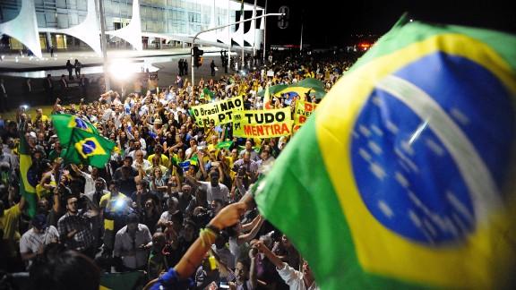 Demonstrators protest in Brasilia on March 16.
